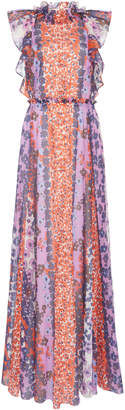 Lela Rose Ruffled Printed Cotton Maxi Dress Size: 0