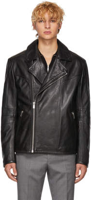 HUGO Black Leather Lanster Jacket