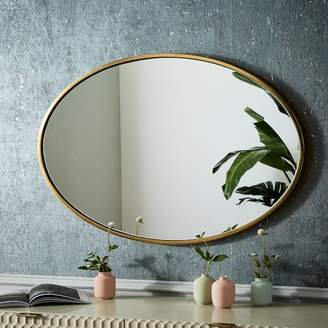 west elm Metal Framed Oval Wall Mirror - Antique Brass