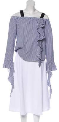Leith Ruffle Striped Top