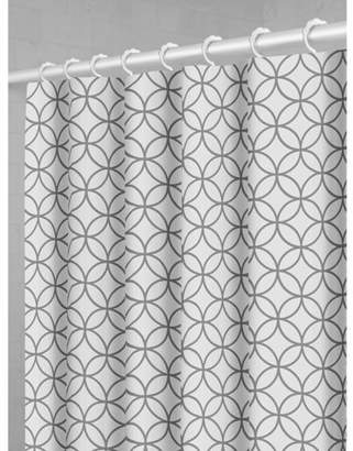 Maytex Smart Curtain Trellis Fabric Shower Curtain with Attached Roller Glide Hooks