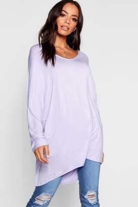 boohoo Basic Long Sleeve Oversized T-Shirt