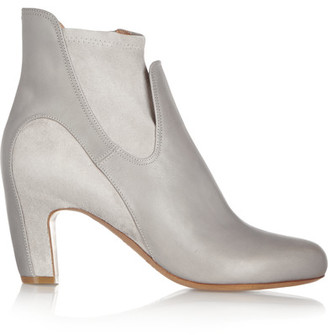 Maison Margiela - Leather And Suede Ankle Boots - Gray $1,230 thestylecure.com