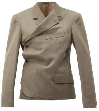 Martine Rose Double Breasted Wrap Wool Blazer - Womens - Brown