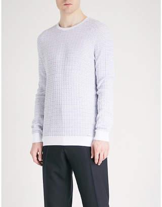 HUGO Textured cotton-knitted jumper