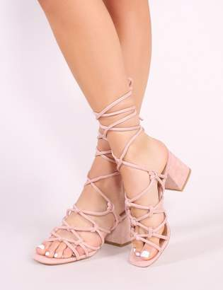 052fc99441d Public Desire Freya Knotted Strappy Block Heeled Sandals in Blush Faux Suede