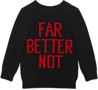 Gucci Kids Children's Far Better Not wool sweater