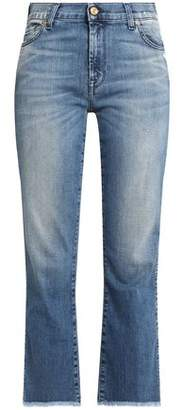 7 For All Mankind Frayed Faded Mid-Rise Bootcut Jeans