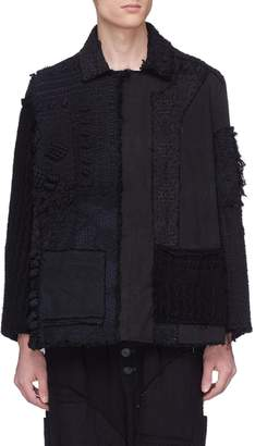 By Walid Reconstructed patchwork cashmere-cotton peacoat