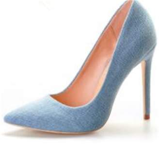 Beverly Stewart Pink Palms Spring Autumn Summer Denim Shoes with Fur Pompon High Heels Pointed Toe Pumps for Women Dress Party Wedding Pumps 7