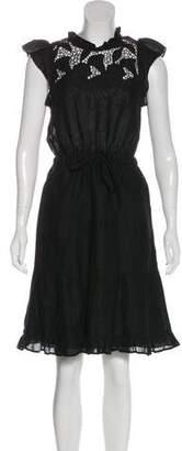 Ulla Johnson Linen Eyelet-Accented Midi Dress