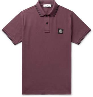 Stone Island Contrast-Tipped Stretch-Cotton Piqué Polo Shirt
