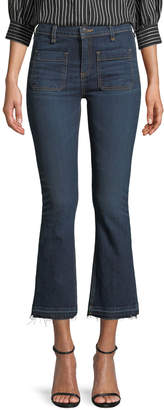 "Veronica Beard Carolyn 10"" Rise Baby-Boot Jeans with Patch Pocket"