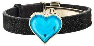 Lalique Crystal Heart Leather Bracelet