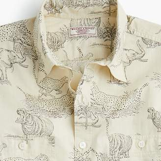 J.Crew Wallace & Barnes short-sleeve slub cotton shirt in safari print