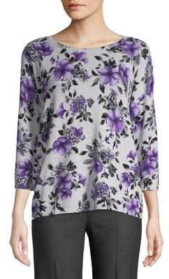 Karen Scott Petite Three-Quarter-Sleeve Floral Top