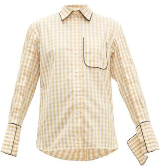 J.W.Anderson Scarf Collar Gingham Cotton Shirt - Womens - Brown White