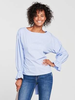 MANGO Stripe Bow Cotton Blouse - Pale Blue