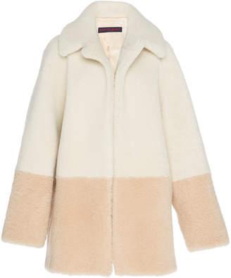 Martin Grant Color Blocking Shearling Jacket