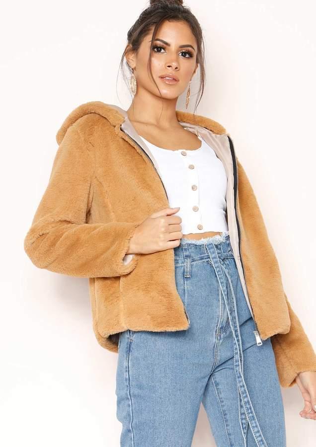 Missyempire Zinnia Camel Faux Fur Hooded Jacket