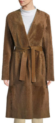 Vince Reversible Belted Shearling Leather Coat