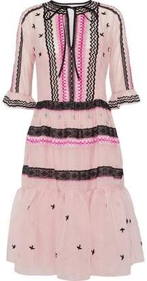 Temperley London Poppy Field Embroidered Cotton And Silk-Blend Voile Dress