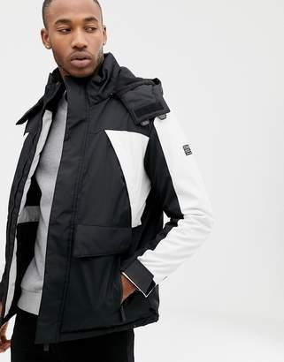 Bershka ski jacket in black and white