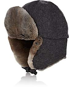 Crown Cap Men's Fur-Trimmed Melton Aviator Hat - Charcoal