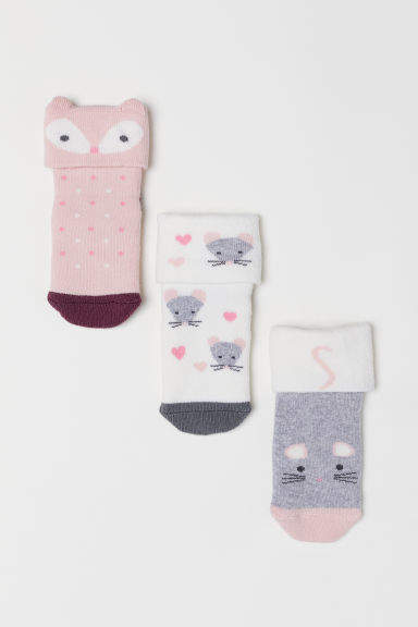 H&M - 3-pack Socks - Pink
