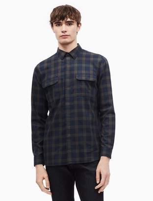 Calvin Klein brushed cotton twill tattersall button down shirt
