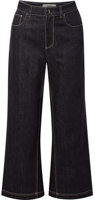 Fendi Cropped High-rise Wide-leg Jeans - Indigo
