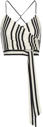Alice + Olivia Alice Olivia - Rayna Striped Silk Wrap-effect Top - Ecru $240 thestylecure.com