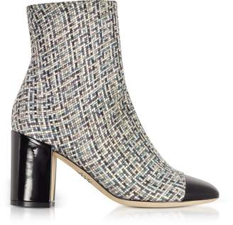 Rodo Tweed and Black Patent Leather Heel Booties