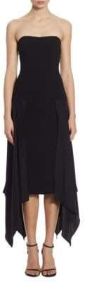 Elsa Drapey Crepe Strapless Dress