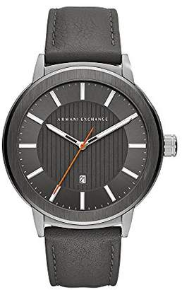 Armani Exchange Men's Quartz Stainless Steel and Leather Casual Watch