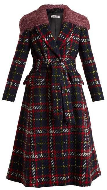 Tweed tartan-checked detachable-collar wool coat