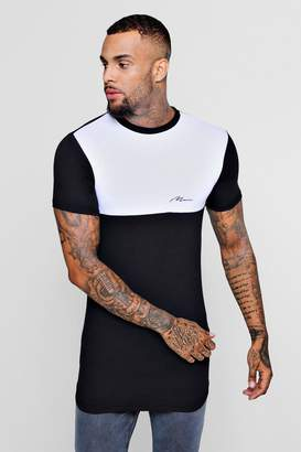 boohoo Longline Muscle Fit Colour Block T-Shirt
