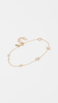 Ef Collection 14k Gold Diamond Sweetheart Charm Bracelet