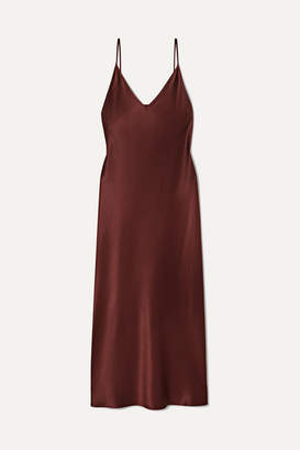 Joseph Clea Silk-satin Midi Dress - Brown