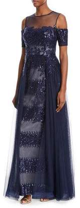 Rickie Freeman For Teri Jon Embellished Sequin Tulle Illusion Gown