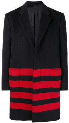 Calvin Klein stripe detail single-breasted coat