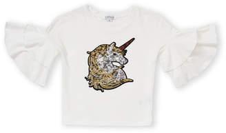 Flapdoodles Girls 4-6x) Sequin Unicorn Ruffle Sleeve Tee
