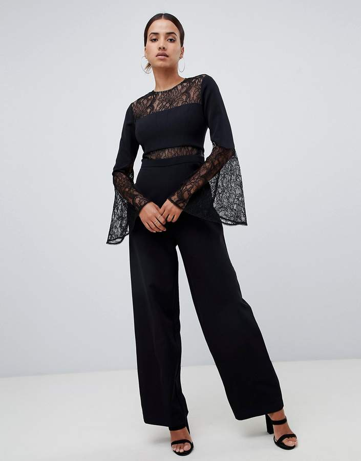 jumpsuit with lace details and flare sleeve in black