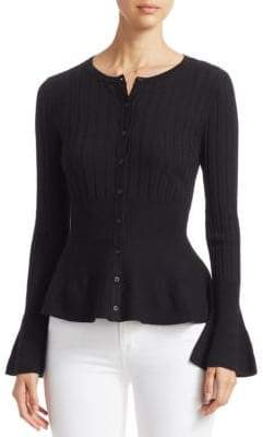 Saks Fifth Avenue COLLECTION Wool Elite Ribbed Peplum Cardigan