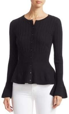 Saks Fifth Avenue Women's COLLECTION Wool Elite Ribbed Peplum Cardigan - Black - Size XL
