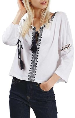 Women's Topshop Embroidered Tassel Peasant Top $52 thestylecure.com