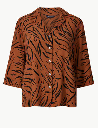 Marks and Spencer Animal Print 3/4 Sleeve Shirt