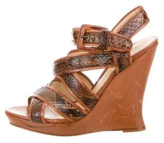Alexandre Birman Python Wedge Sandals