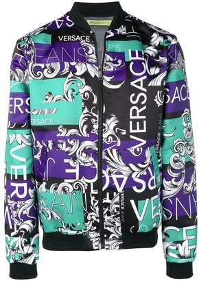 Versace baroque print panelled bomber jacket