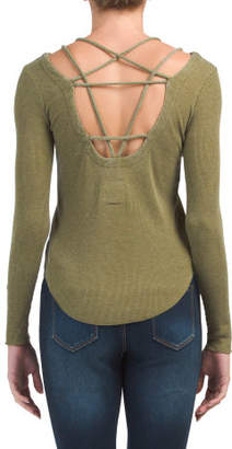 Long Sleeve Scoop Neck Strappy Tee